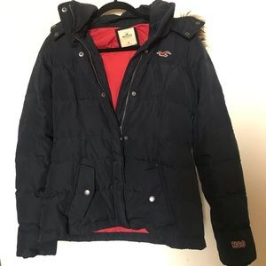 Hollister Co detachable fur hood puffer jacket